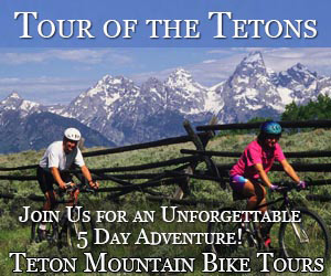 Teton Mountain Bike Tours - Enjoy fun full- and 1/2-day guided bike tours showing Teton highlights or multi-day packages including Yellowstone Park. Easy riding for all ages (full suspension bikes) including kids bikes and trailers. Bike Rentals for the bike path system and forest trails.