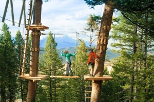 Snow King Mountain - Treetop Adventure Course :: Ride zip lines, shimmy over suspended bridges, scramble up nets, cross swinging logs,& ride an aerial skateboard. Kids & Adult courses available! Open daily at 10am.