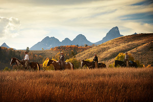 Gros Ventre River Ranch :: Here you feel like family.  Enjoy chef-prepared meals in our historic lodge after a day of horseback riding, world-class fishing, hiking & more. Teton views & Western luxury.
