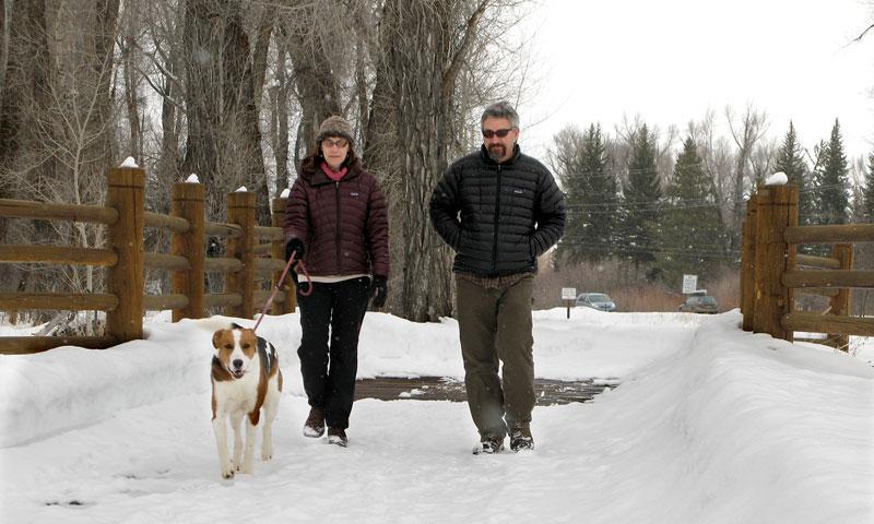 Walking along Jackson Hole Pathways