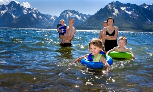 Family Kids Jackson Lake Grand Teton National Park Swimming Wyoming