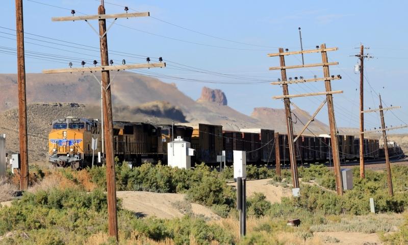 Train going through Rock Springs Wyoming