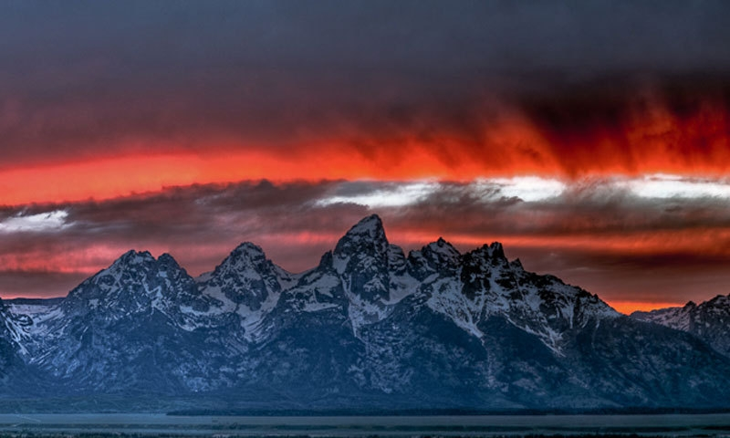 Grand Teton National Park Mountain Range Sunset