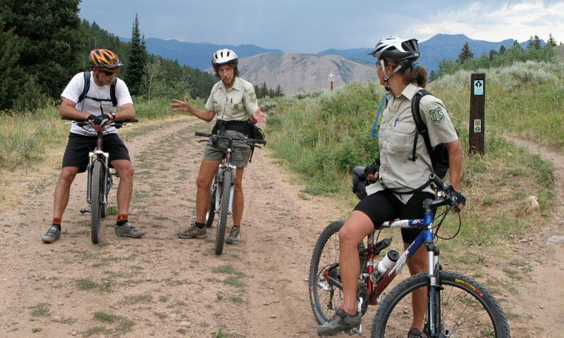 Ranger Meeting at the top of a Mountain Bike Ride in Jackson Wyoming