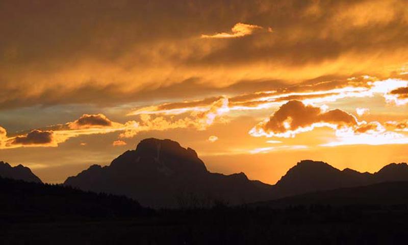 Sunset behind Mount Moran in Grand Teton Park