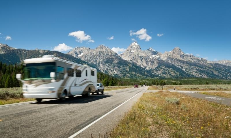 RV driving through Grand Teton National Park