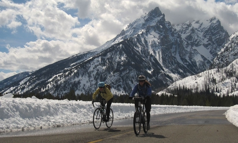 Grand Teton National Park Spring Road Biking Snow