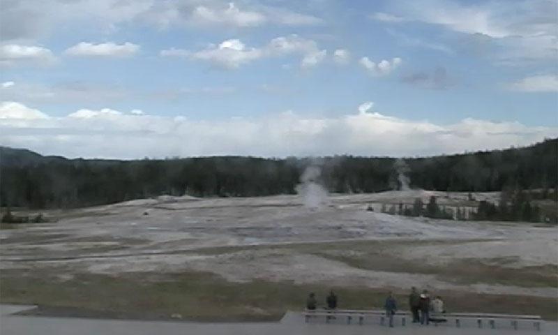 Webcam overlooking Old Faithful in Yellowstone