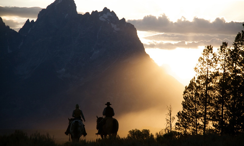 Horseback Riding Jackson Grand Teton Wyoming Sunset