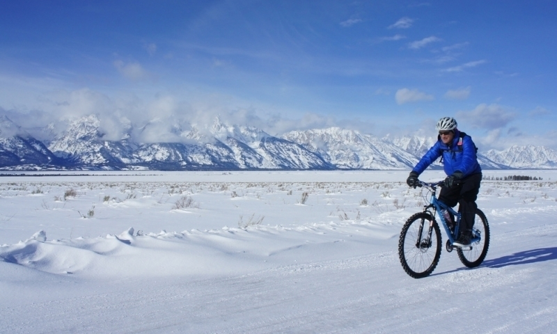 Mountain Biking Winter Jackson Hole Wyoming Snow Grand Teton National Park