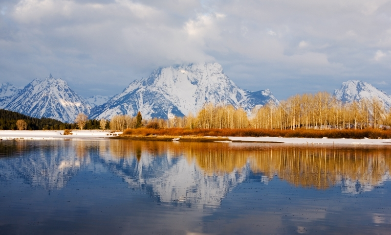 Grand Teton National Park Winter Snow Oxbow Bend Snake River Mount Moran