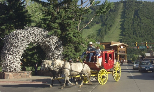 Stagecoach Ride Jackson Town Square Downtown Wyoming