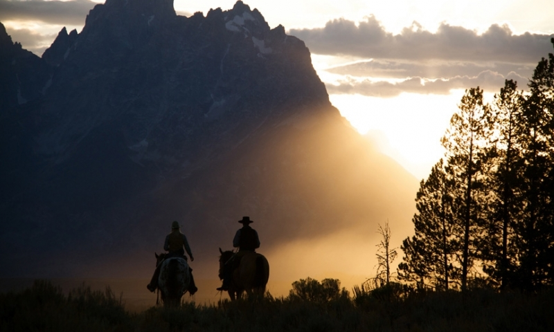 Horseback Riding Jackson Grand Teton Wyoming Sunset