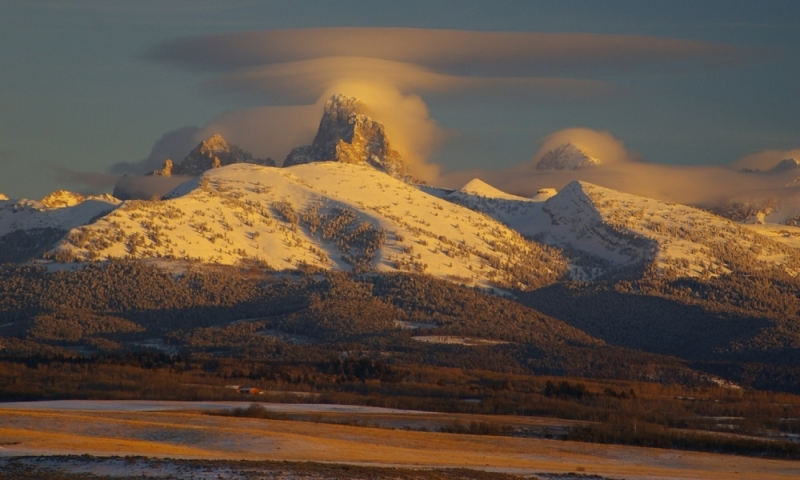View of the Grand Tetons from Tetonia, Idaho during an amazing sunset.